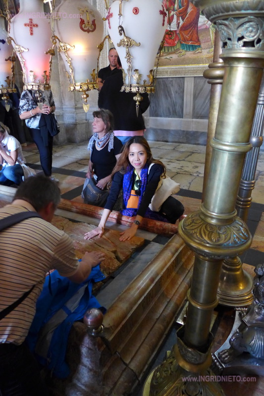 The Stone of Anointing is where Jesus is believed to have been laid after he was taken off the cross