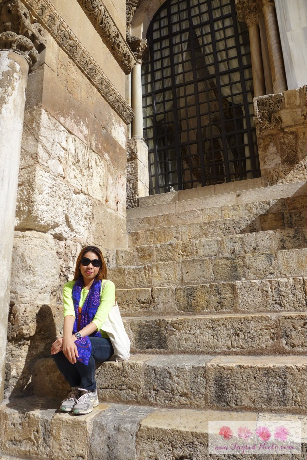 At the courtyard of the Holy Sepulchre. It was nice to be able to move about freely after staying in line.