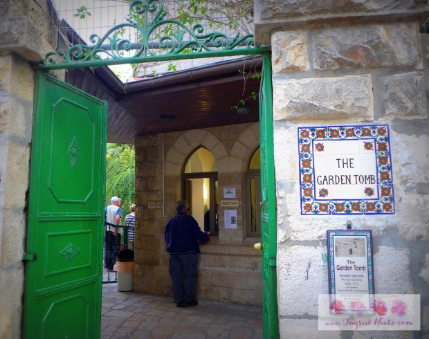The Garden Tomb is in Jerusalem but not within the Old City. According to our guide from the Garden Tomb, the location matches the description in the Bible: -Located along a highway -Public execution -At the skull-shaped hill -Near a gate of the city -A garden