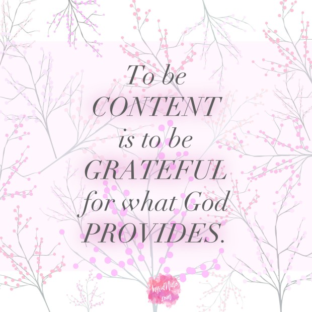 to be content grateful